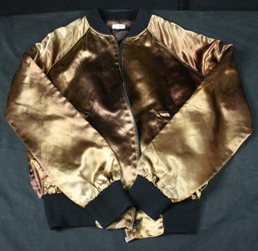 ROLLING STONES - brown satin zipped bomber jacket (S) from