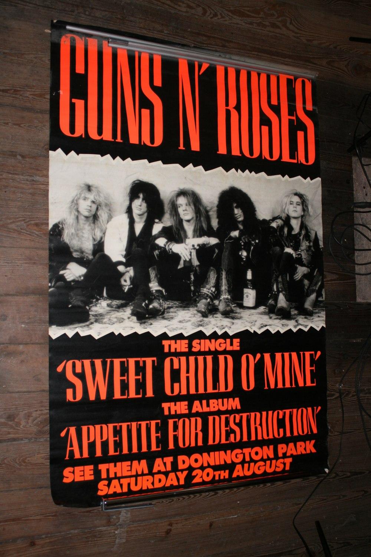 Lot 1 - GUNS & ROSES - large original poster advertising their performance at Donnington Park on Saturday