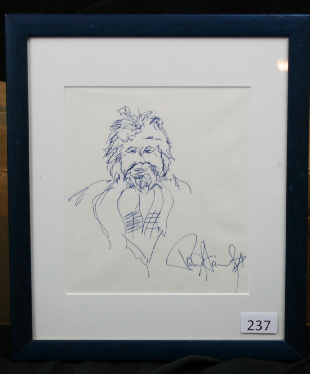 Lot 123 - PAUL STANLEY - signed original self portrait from the KISS frontman drawn in blue pen. The portrait