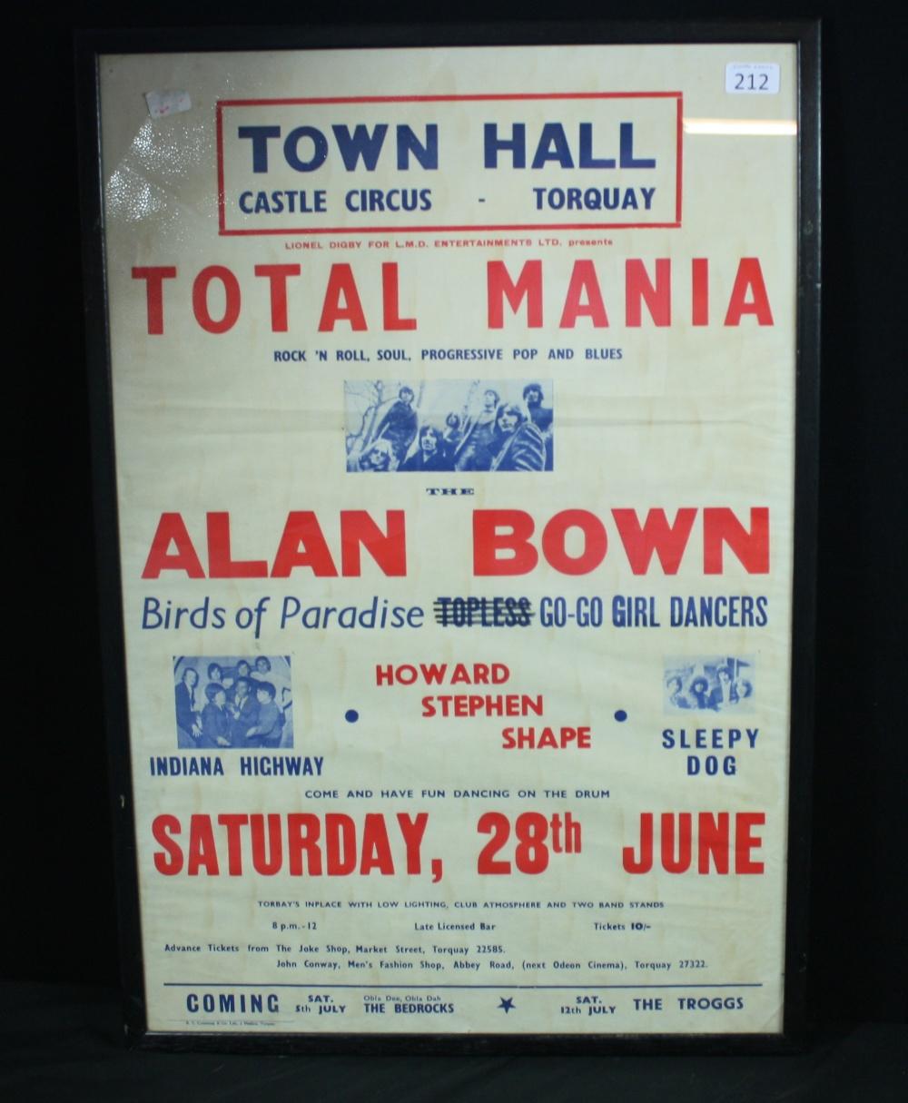 Lot 212 - CONCERT POSTER - Original framed concert poster for `Town Hall - Castle Circus - Torquay`. Headline