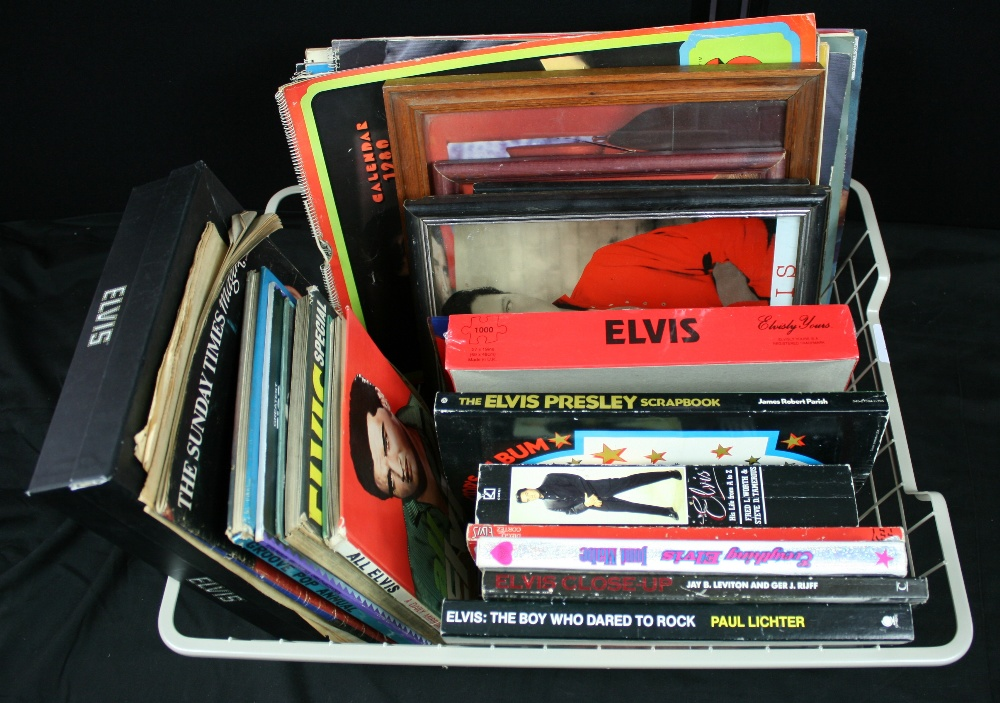 Lot 28 - ELVIS - large box of Elvis memorabilia to include 8 x books such as Elvis Close Up, Elvis His Life