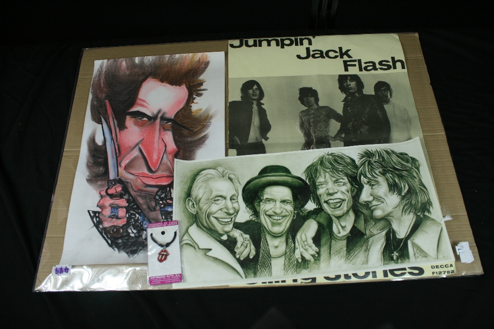 Lot 43 - ROLLING STONES - Collection of 4 items to include a Decca promo poster for Jumping Jack Flash (