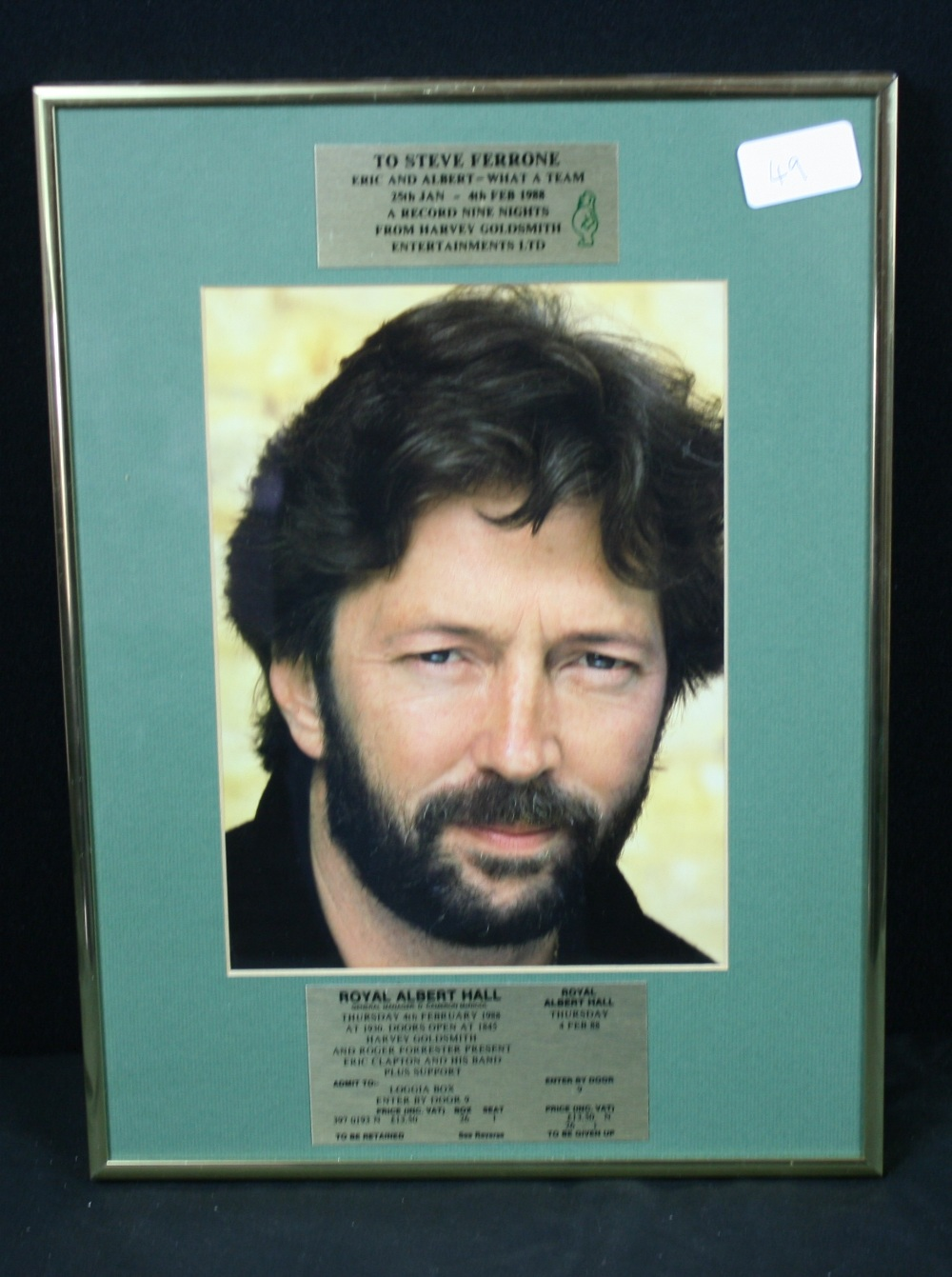 Lot 49 - STEVE FERRONE/ERIC CLAPTON - A framed award/tour plaque presented to Steve Ferrone who was the
