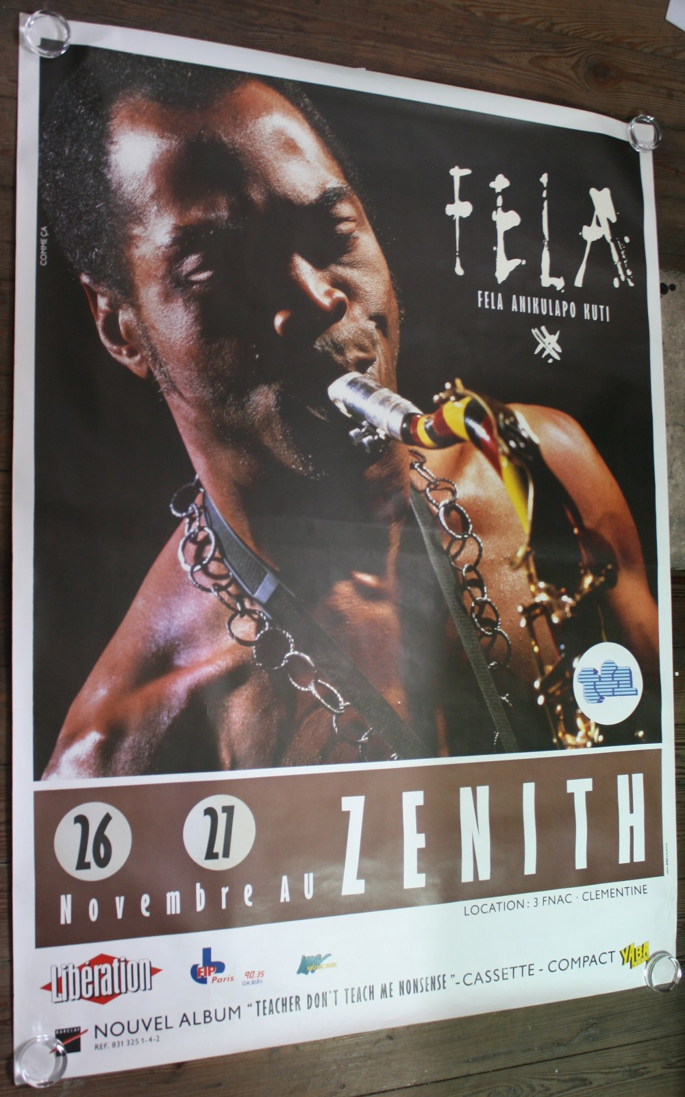 Lot 53 - FELA KUTI - very large French concert poster (62``x46``) from the early 80s. The poster is rolled