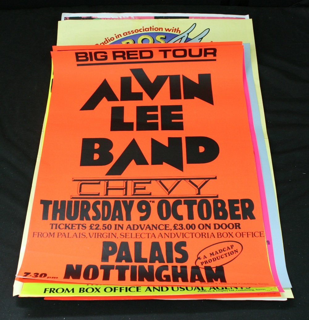 Lot 92 - POSTERS - collection of 9 x various `80s concert posters to include Alvin Lee Band, Eddie Grant,