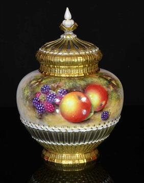 A Royal Worcester Fruit Pattern Potpourri Pot c.1950, signed Freeman ...