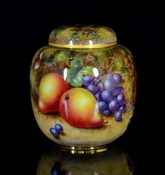 A Royal Worcester Fruit Pattern Ginger Jar c.1950, signed Freeman ...