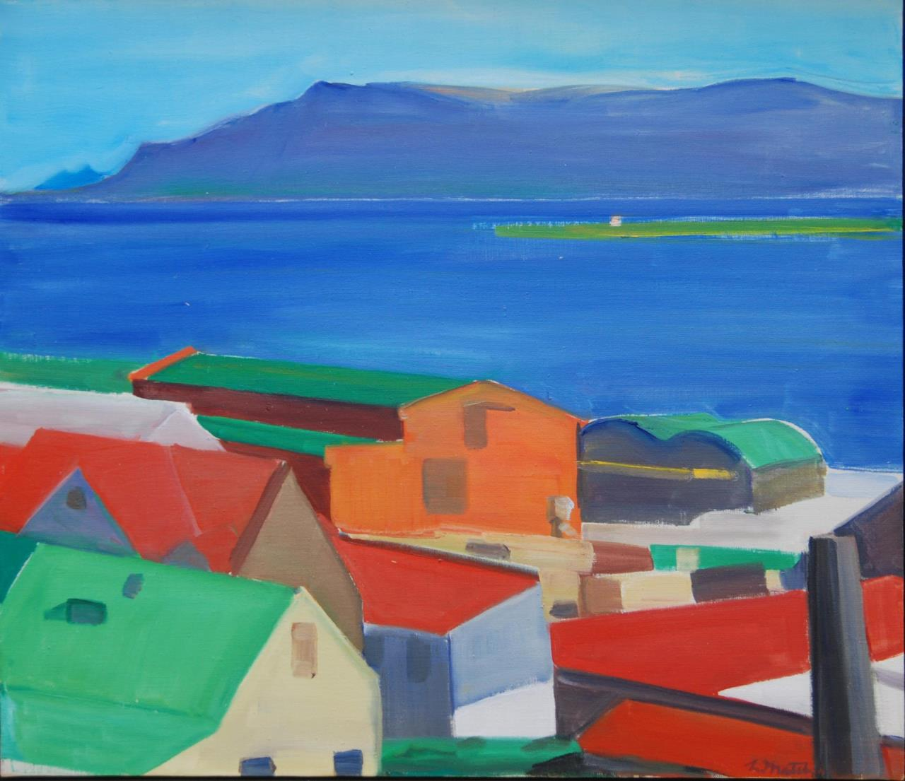 LOUISA MATTHIASDOTTIR VILLAGE SCENE OIL ON CANVAS Louisa Matthiasdottir (ICELANDIC/AMERICAN, 1917-