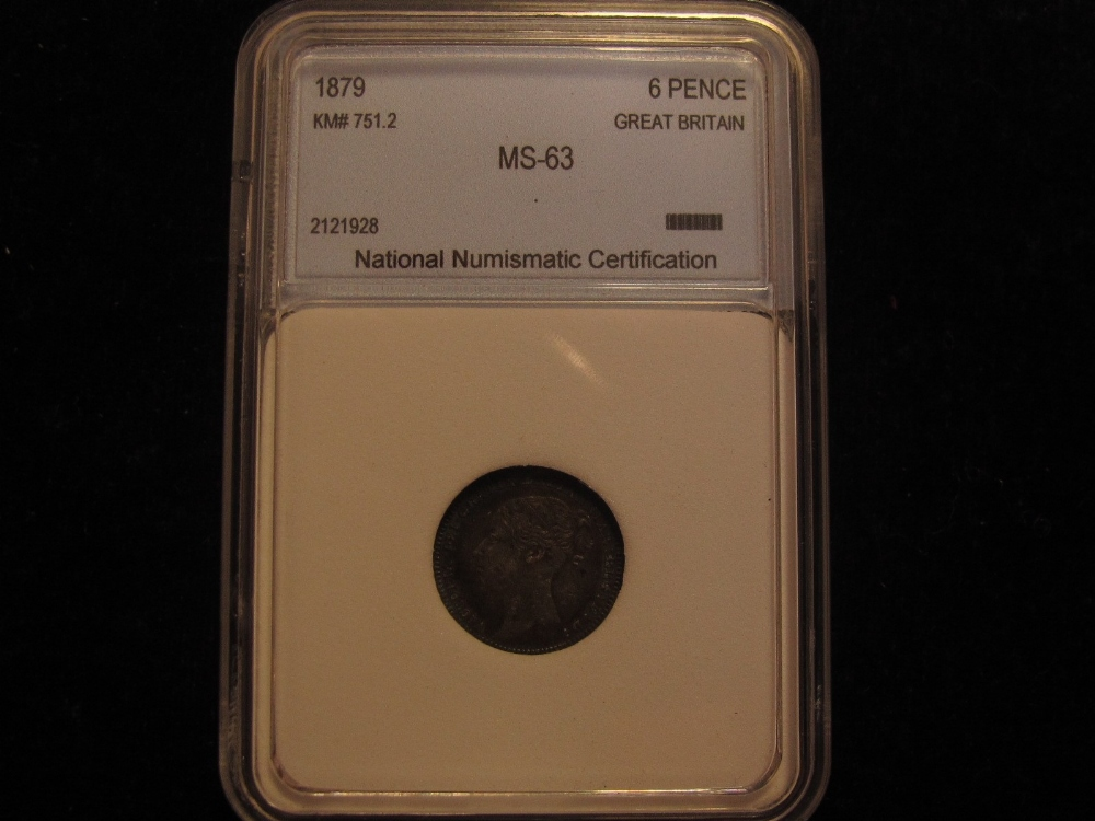 Sixpence 1879 No Die Number S3911 Slabbed By National