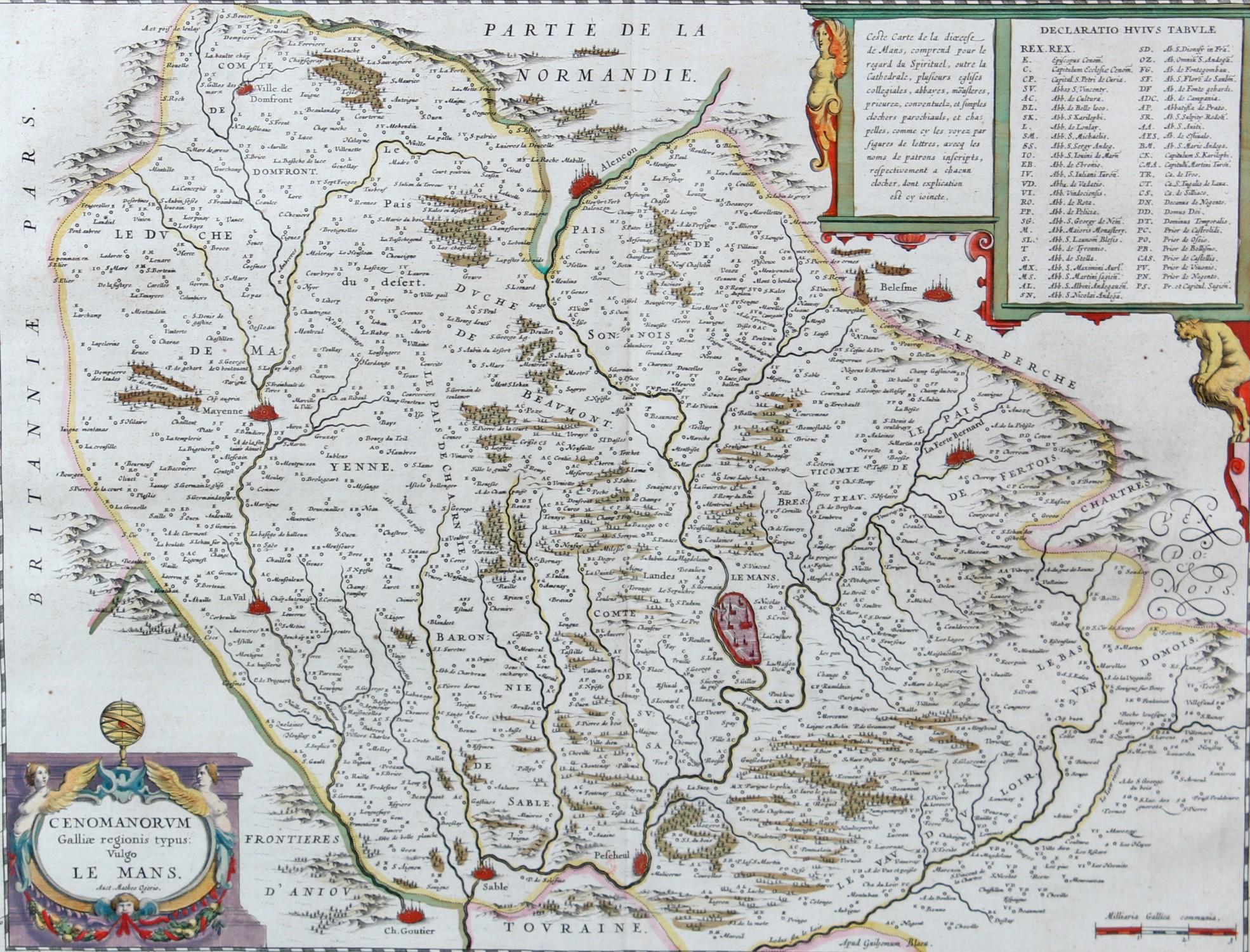 Map France 987.Blaeu Map Of The Le Mans Region France 17th Century Cenomanorum