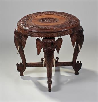 Delicieux Indian Carved Elephant Table, The Circular Carved Top Above Elephant Carved  Legs, 61cm Wide X 62c