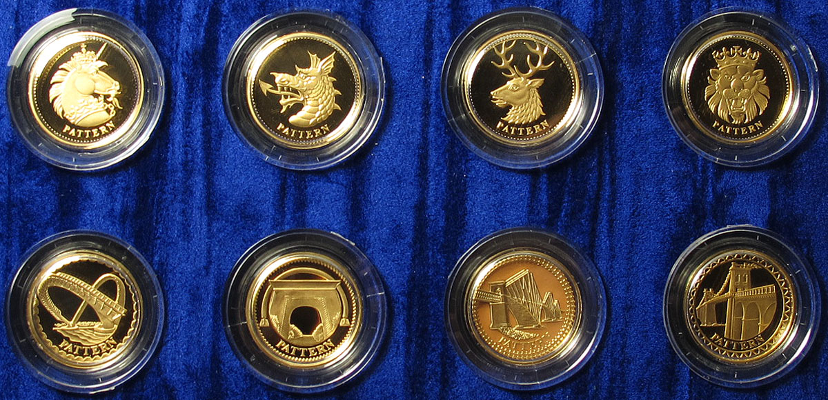 The United Kingdom Gold One Pound Pattern Collection Heraldic Beasts & Bridges 2003 & 2004 an 8 coin