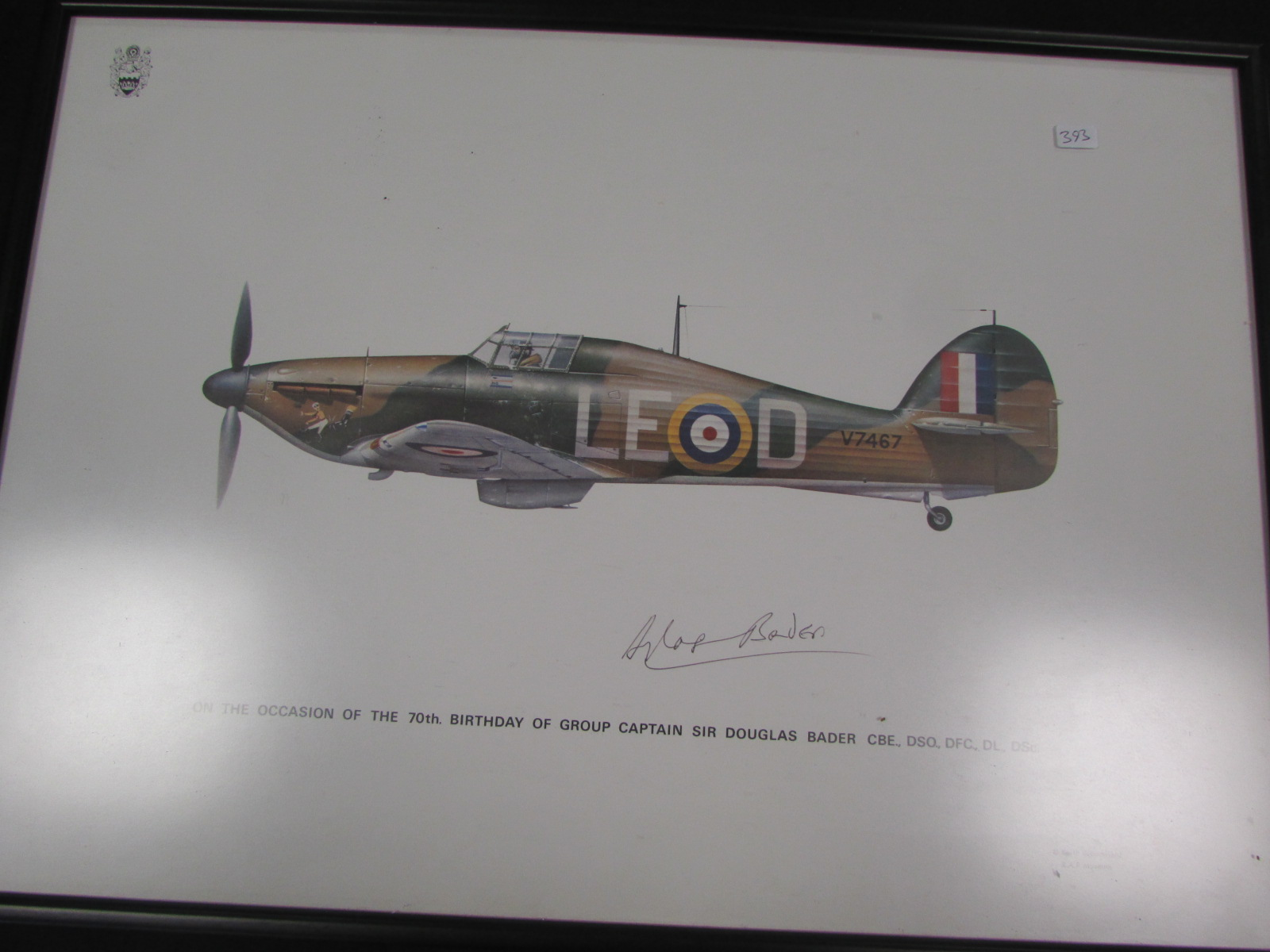 spitfire print. lot 232 - douglas bader hand signed spitfire print (framed) with certificate from the g
