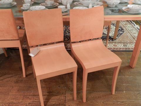 Ligne Roset, France. A set of six \'Finn\' dining chairs, having satin ...