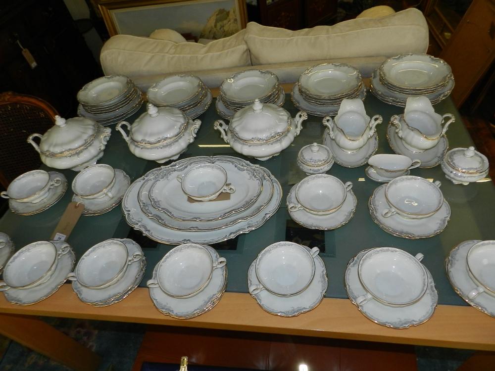 a comprehensive hutschenreuther german porcelain dinner service 39 sylvia 39 pattern. Black Bedroom Furniture Sets. Home Design Ideas