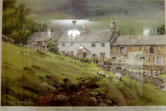 Framed limited edition print, 273/850, of Glencoyne Farm, Ullswater ...