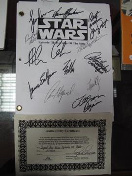 Copy Of Star Wars Episode Iii Revenge Of The Sith Script Signed To Cover By Cast Including Sa