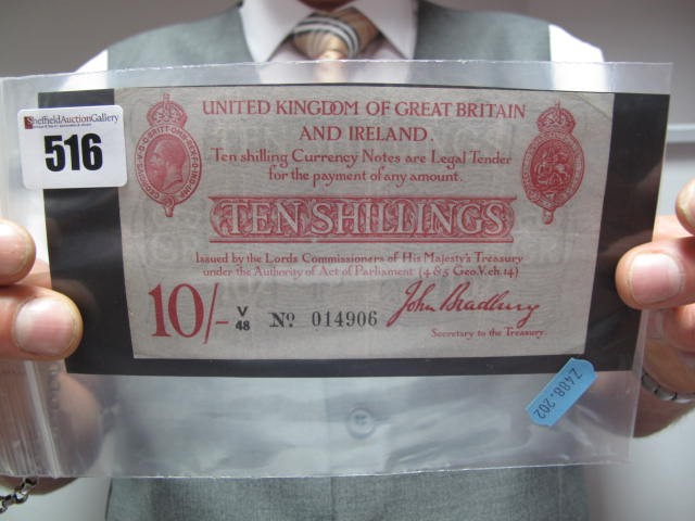 Lot 516 - A Circulated John Bradbury Second Issue Ten Shilling Banknote, no. V48 14906. Some vertical folds