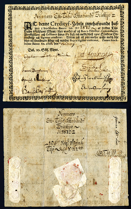 """Lot 1063 - Stockholms Banco, Daler Sylvermynt """"1666"""" Issue Banknote. Stockholm, Sweden, May 1666, 10 Daler"""