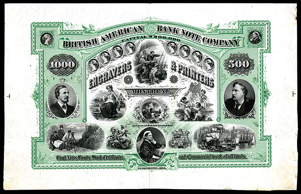 Lot 1053 - British American Bank Note Company Engravers & Printers,  ND (ca.1860`s) Dramatic Proof Security