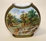 A CIRCULAR FLASK FORM PORCELAIN VASE,  possibly Minton, hand painted with a view of the Eagles