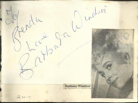 Barbara Windsor signature piece fixed to autograph album