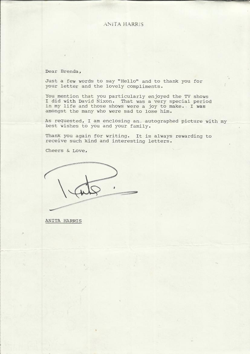 Anita Harris Typed handsigned letter On personal headed stationary ...