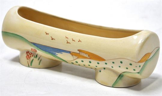 An Unmarked Clarice Cliff Taormina Patterned Floral Decorated Trough