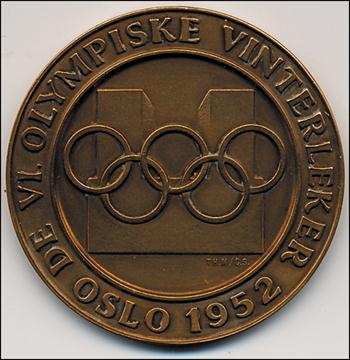 22b7f278423 Participation Medal  Olympic Games 1952. - Winter Games 1952 Oslo. Official  Medal in copper