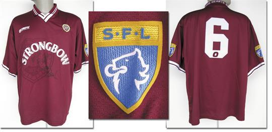 uk availability 2e481 2d0b3 match worn football shirt FC Heart of Midlothian - Number 6 ...