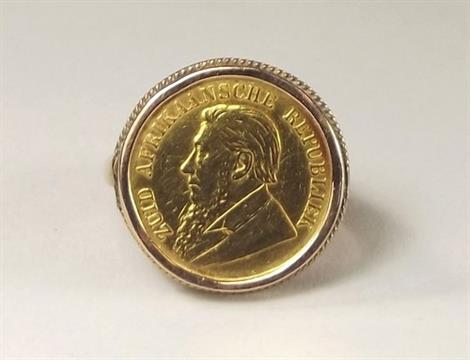 Gold Coin Ring A South African 1897 Half Pond Coin Ring In 9ct Gold Band Mount 10g