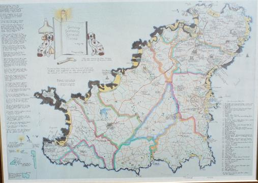 Ebenezer Le Page a fictitious map of the Island of Guernsey 23 x