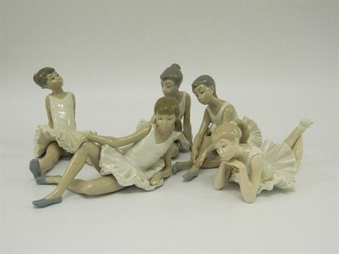 FIVE NAO LLADRO BALLERINA FIGURINES in various repose and