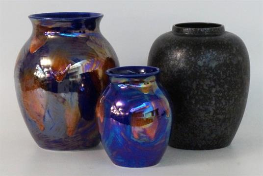 Two Poole Pottery Lustre Vases With Drip Ware Effect Raised