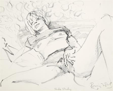 Nude masturbate woman sketch