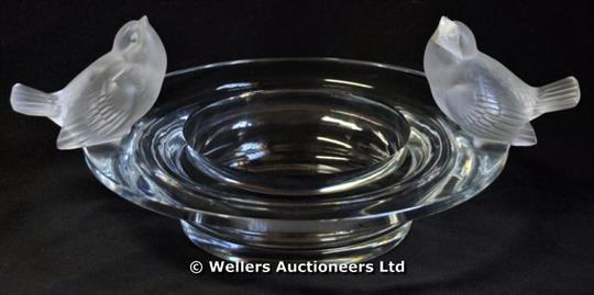 A Modern Lalique Bowl With Two Birds