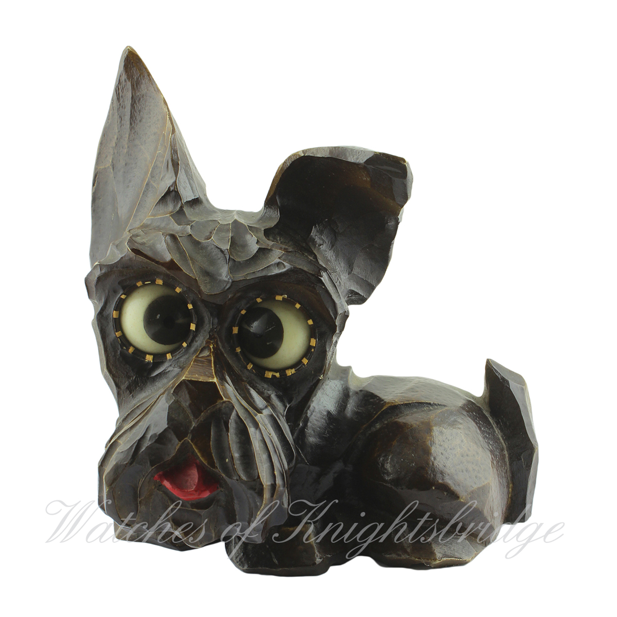 Lot 531 - AN OSWALD NOVELTY ROLLING EYE CLOCK IN THE SHAPE OF SCOTTIE DOG CIRCA 1930 The dogs eyes record