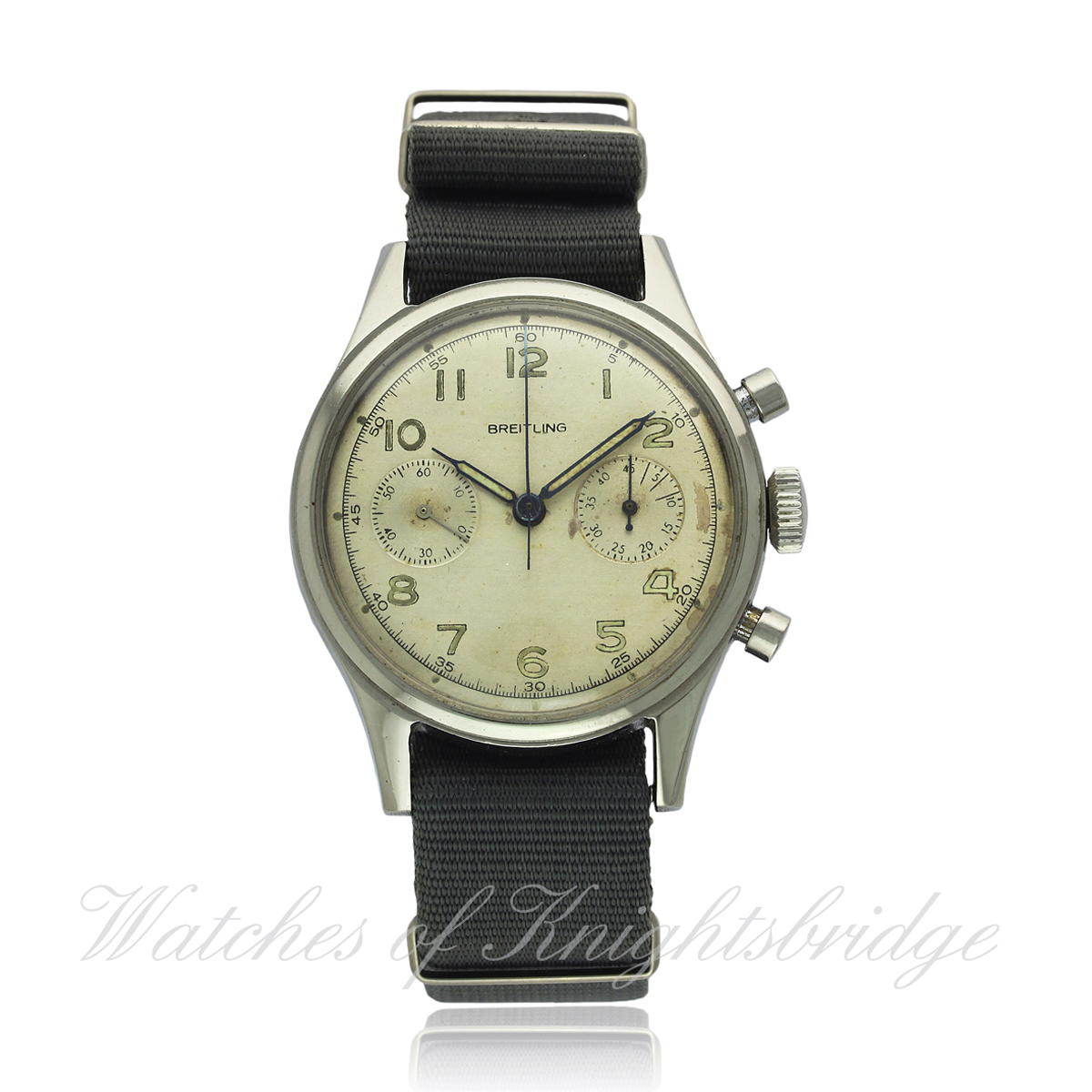 Lot 58 - A GENTLEMAN`S STAINLESS STEEL BREITLING PREMIER BELGIUM MILITARY AIR FORCE PILOTS CHRONOGRAPH
