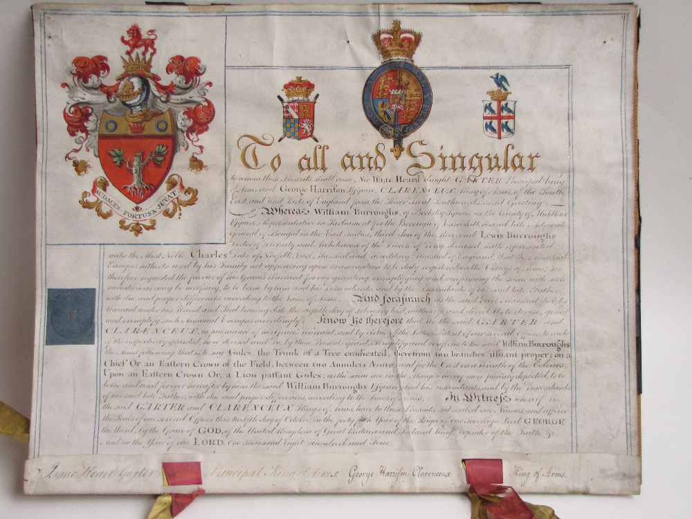 Lot 599 - An illuminated armorial (Grant to bear Arms) for William Burroughs of Berkeley Square dated 1804.