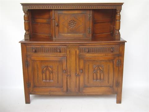 Perfect A Mid 20th Century Oak Court Cupboard, Bears Label Webber Furniture,  Croydon.