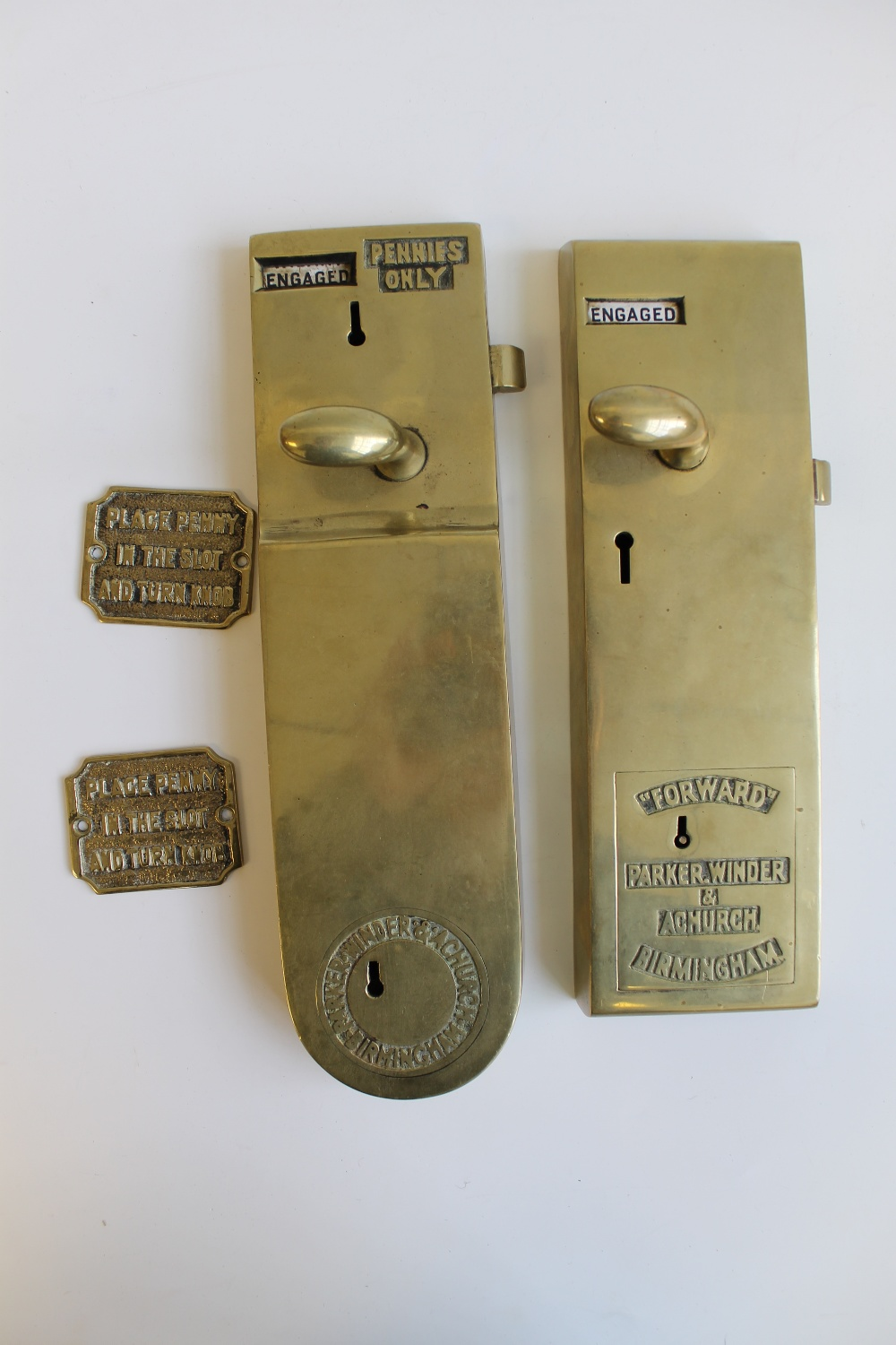 Two Brass Penny In The Slot Toilet Door Locks By Parker