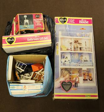 A BOXED VINTAGE SINDY DOLL HOUSE, Together With A Collection Of Associated Sindy  Furniture And Ac