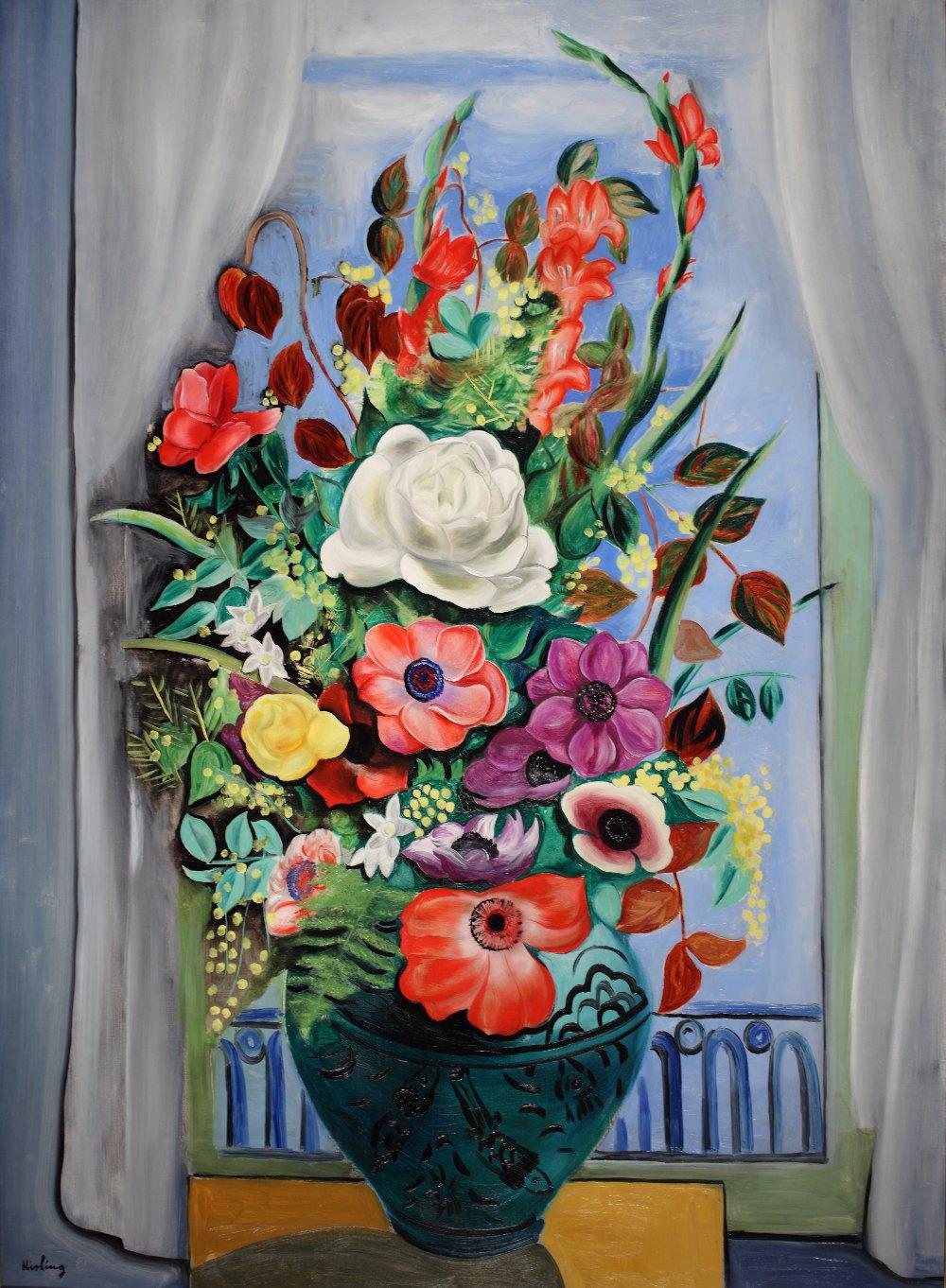 Moise kisling french polish 1891 1953 grand bouquet for Devant la fenetre