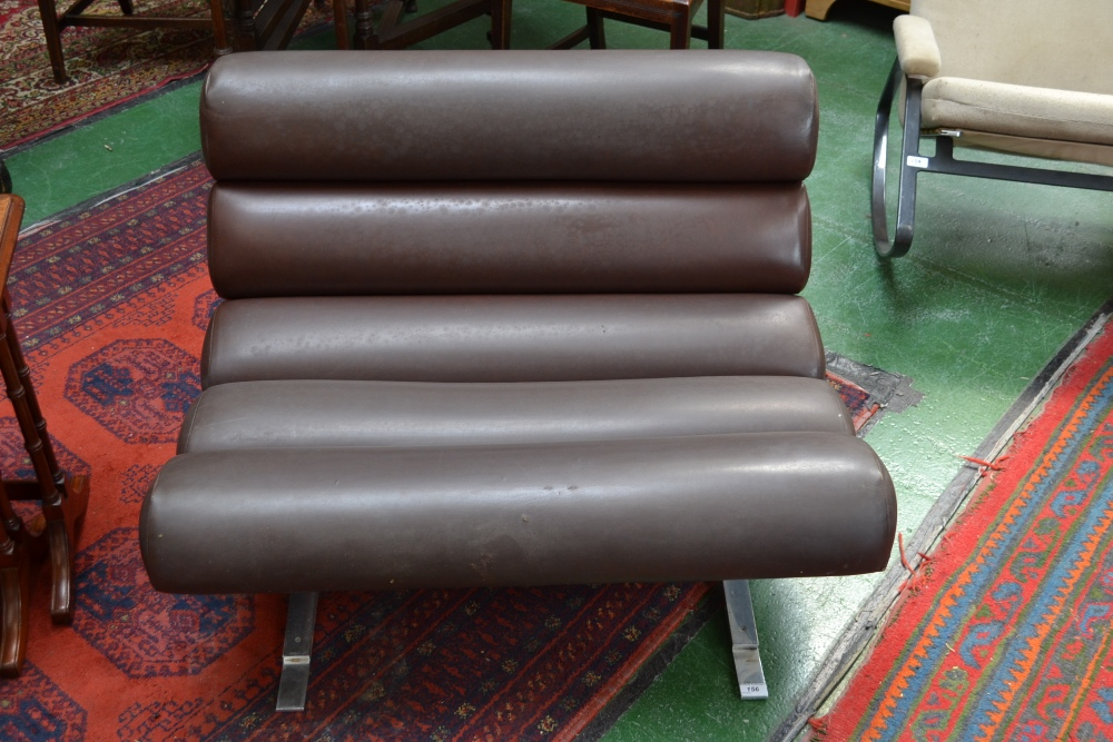 Lot 156   William Plunkett Furniture   A Lounge Chair, Five Cushioned Rolls  On A