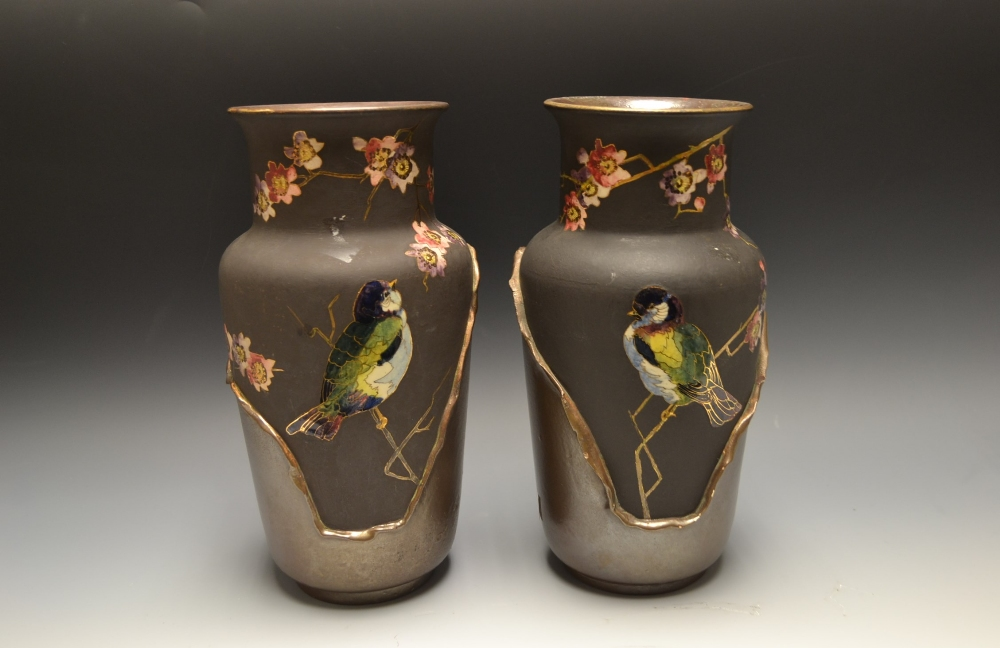A Pair Of Bretby Pottery Vases Painted With Birds Perched On