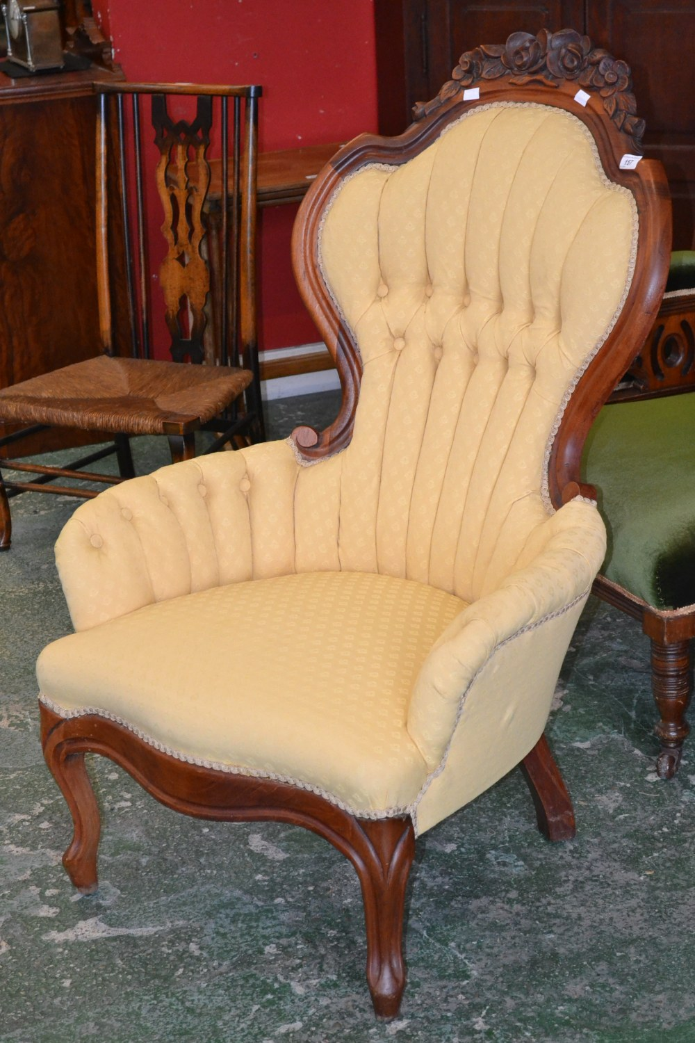 Lotto 157   A Carlton McLendon Furniture Reproduction Victorian Nursing  Chair, Spoon Back With Foliate