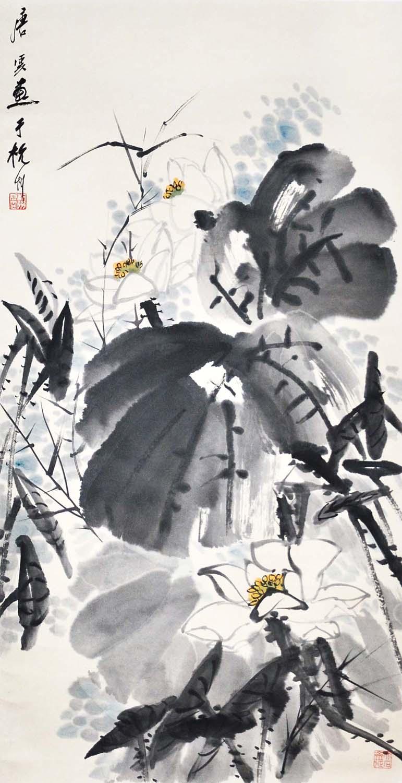 """Lot 2 - """"??(1910 -1993)?????????????:????????:(????)(???)Tang YunLotus PondHanging Scroll,Ink & Color on"""