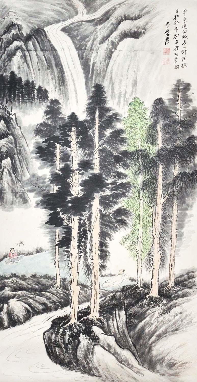 """Lot 33 - """"???(1899 - 1983)???????????????:?????,?????;?????,?????????????:(????)(????)Zhang DaqianScholar"""