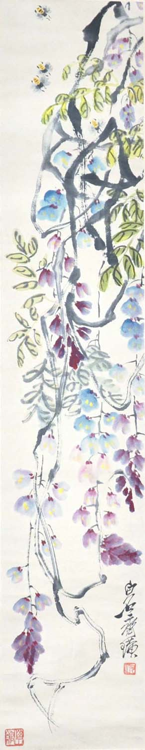 "Lot 40 - ""???(1864 - 1957)???????????????:??????:(??)(???)Qi BaishiWisteria and BeesHanging Scroll,Ink &"