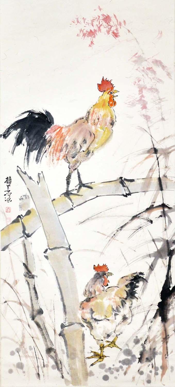 "Lot 42 - ""???(1913 - 2004)???????????????:?????:(?)(??)Yang ShanshenMorning RoostersHanging Scroll,Ink &"